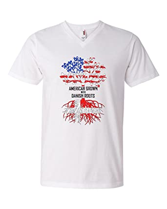 b8e6244ad Image Unavailable. Image not available for. Color: Tenacitee Men's American  Grown with Danish Roots V Neck T-Shirt, Medium, White