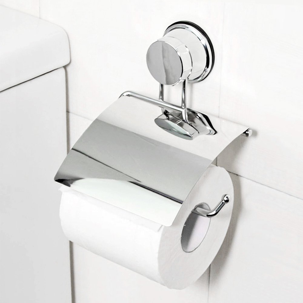 Etzion Toilet Paper Holder with Suction Cups, Stainless Steel Removable Roll Paper Holder Suction Cups Holder with Waterproof Panel
