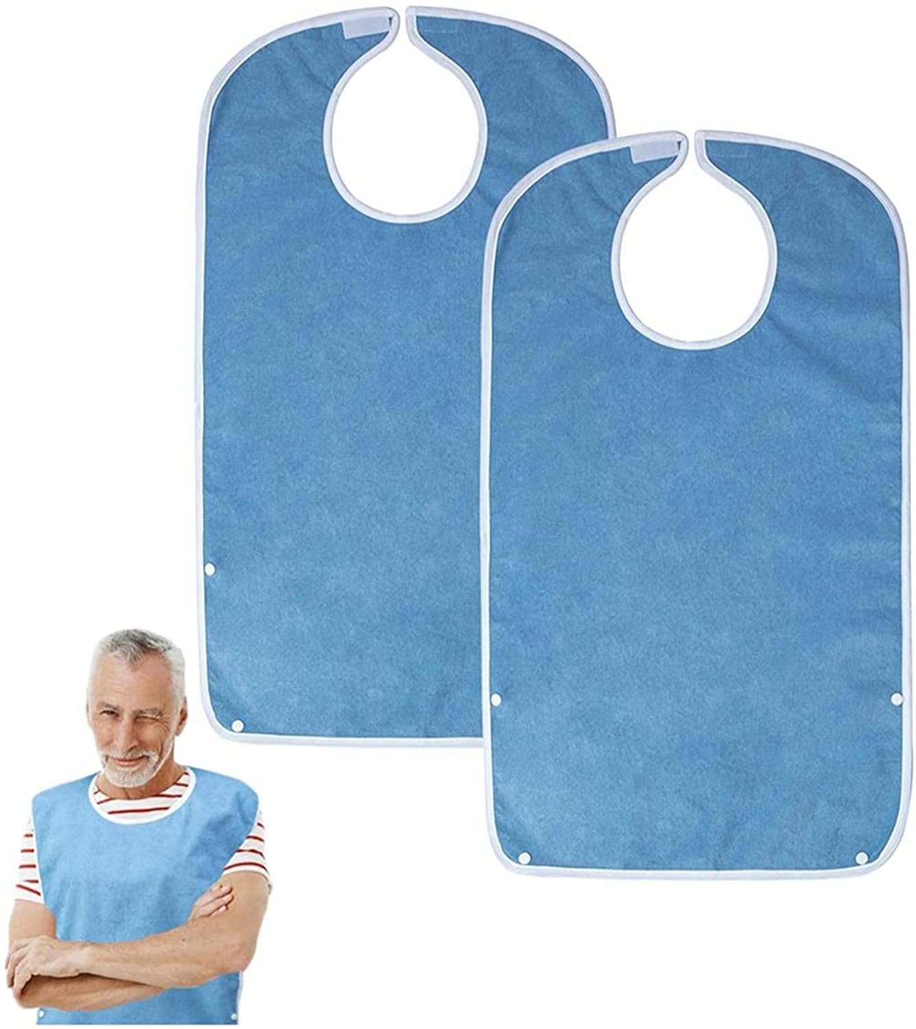 Adult Bibs for Eating, Waterproof Clothing Protector with Premium Terry Cloth(Blue)