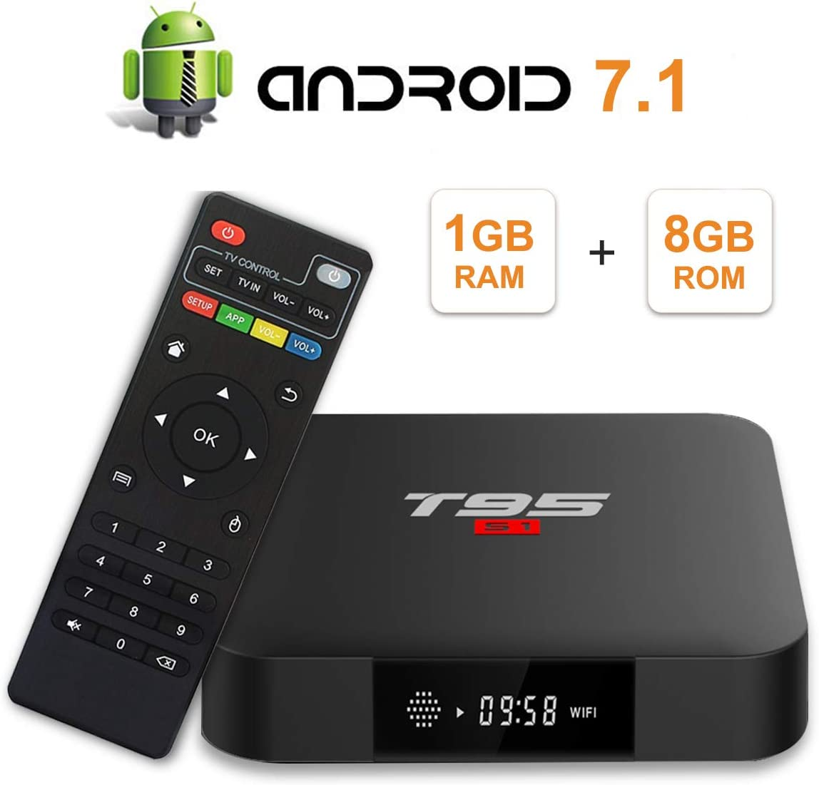 T95 S1 Android 7.1 TV Box con 1GB RAM/8GB ROM Amlogic S905W Quad-Core Digital Display HDMI HD Support 2.4G WiFi 3D 4K: Amazon.es: Electrónica