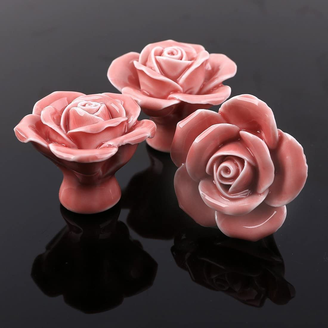 C/éramique Forme de Fleur Rose Portes Meuble Tiroir Placard D/écoration Lot de 8 Searchyou Blanc Boutons de tiroir Poign/ées et Boutons de tiroir