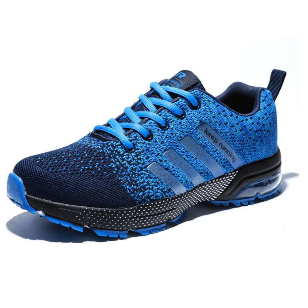 Männer Laufschuhe Gestrickte Leichte Lässige Fitness Fitnessschuhe Trainer Joggen Lässig Turnschuhe,Blau-EU38 UK55.5 US66.5