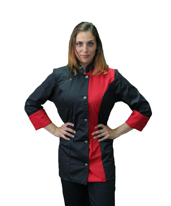taglie da XS a XXXXL giacca cuoco nera e rossa tessile astorino Ricamo Gratuito Made in Italy casacca chef donna