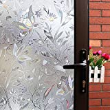 Mikomer Tulip Decorative Window Film,No Glue Frosted Privacy Film,Stained Glass Door Film,Reflective Window Decoration/Static Cling/Vinyl/Heat Control/Anti UV for Home and Office,35In. by 78.7In.