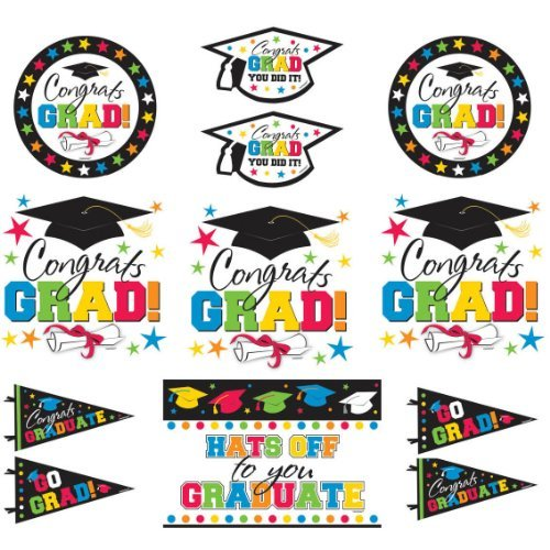 amscan Grad Value Pack Assortment Packaged Cutouts | Party Favor | 144 Ct.