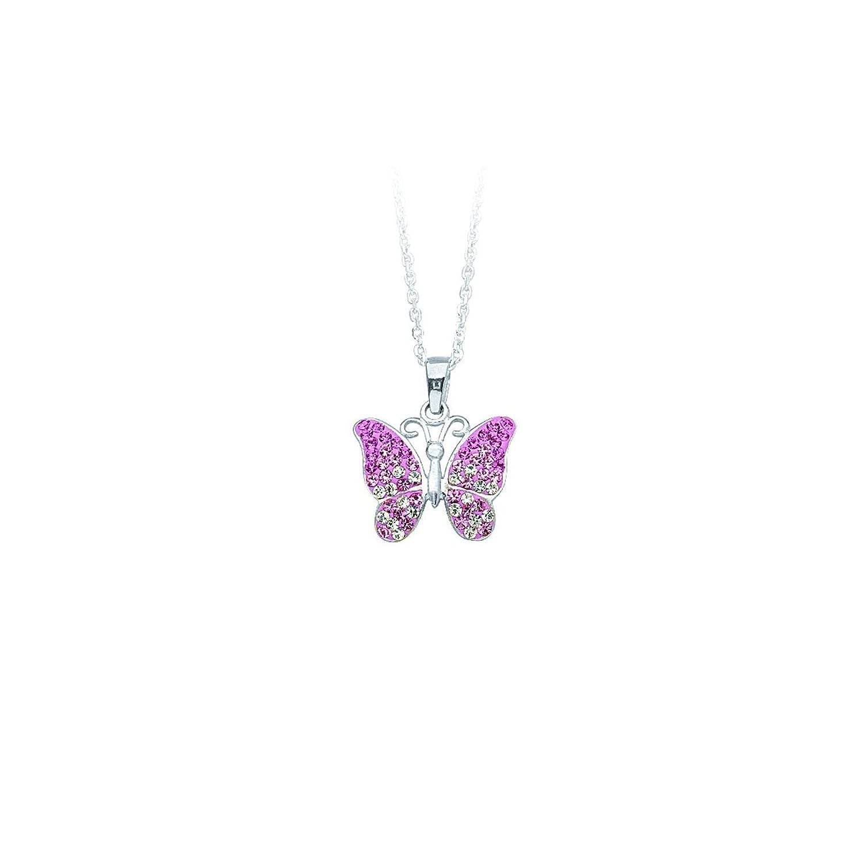 DiamondJewelryNY Silver Pendant Ss Butterfly Pendant Neck//Pink Resin