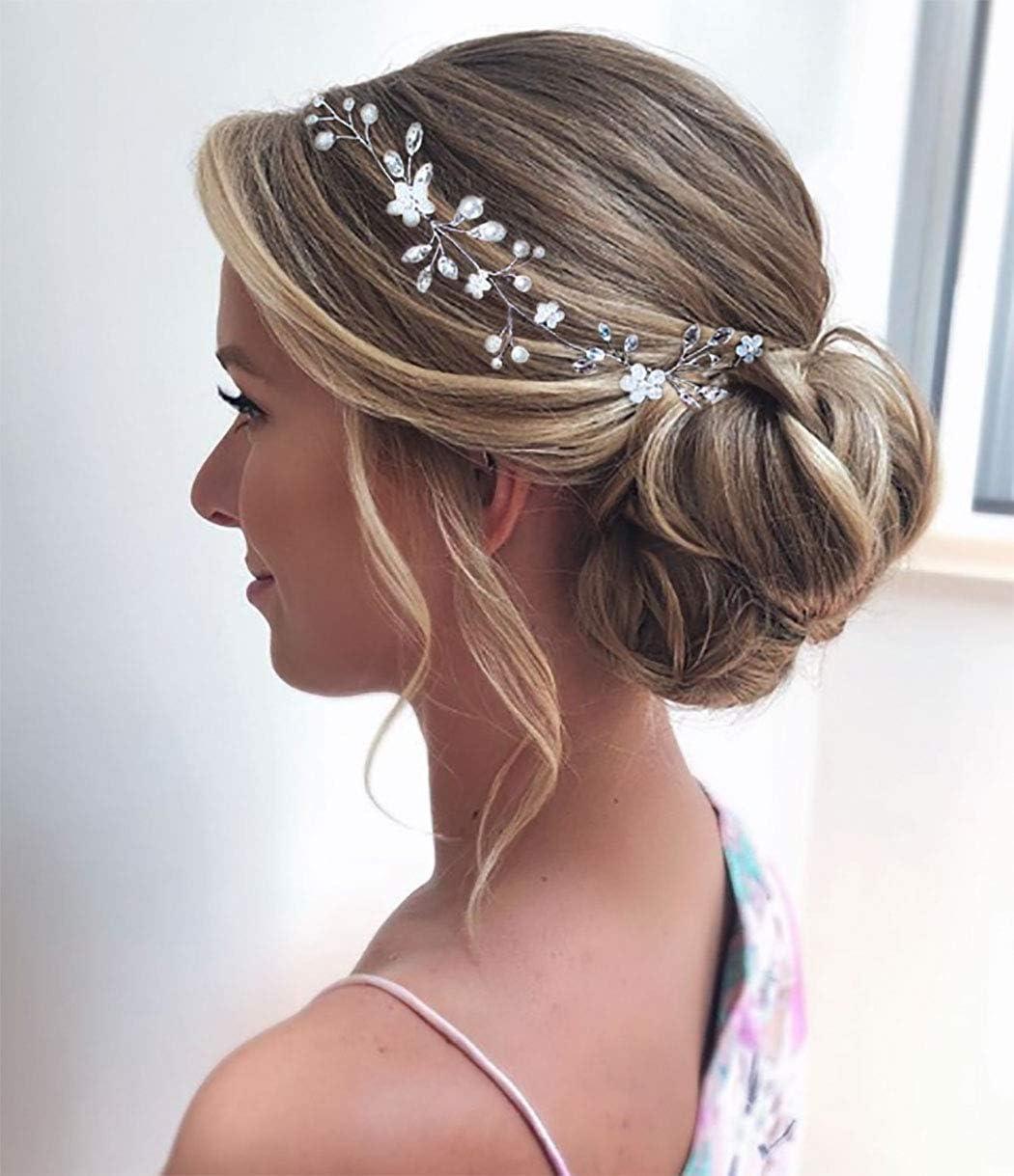 argento Unicra argento matrimonio fiore di cristallo capelli vite copricapo da sposa fasce accessori per capelli da sposa per le spose