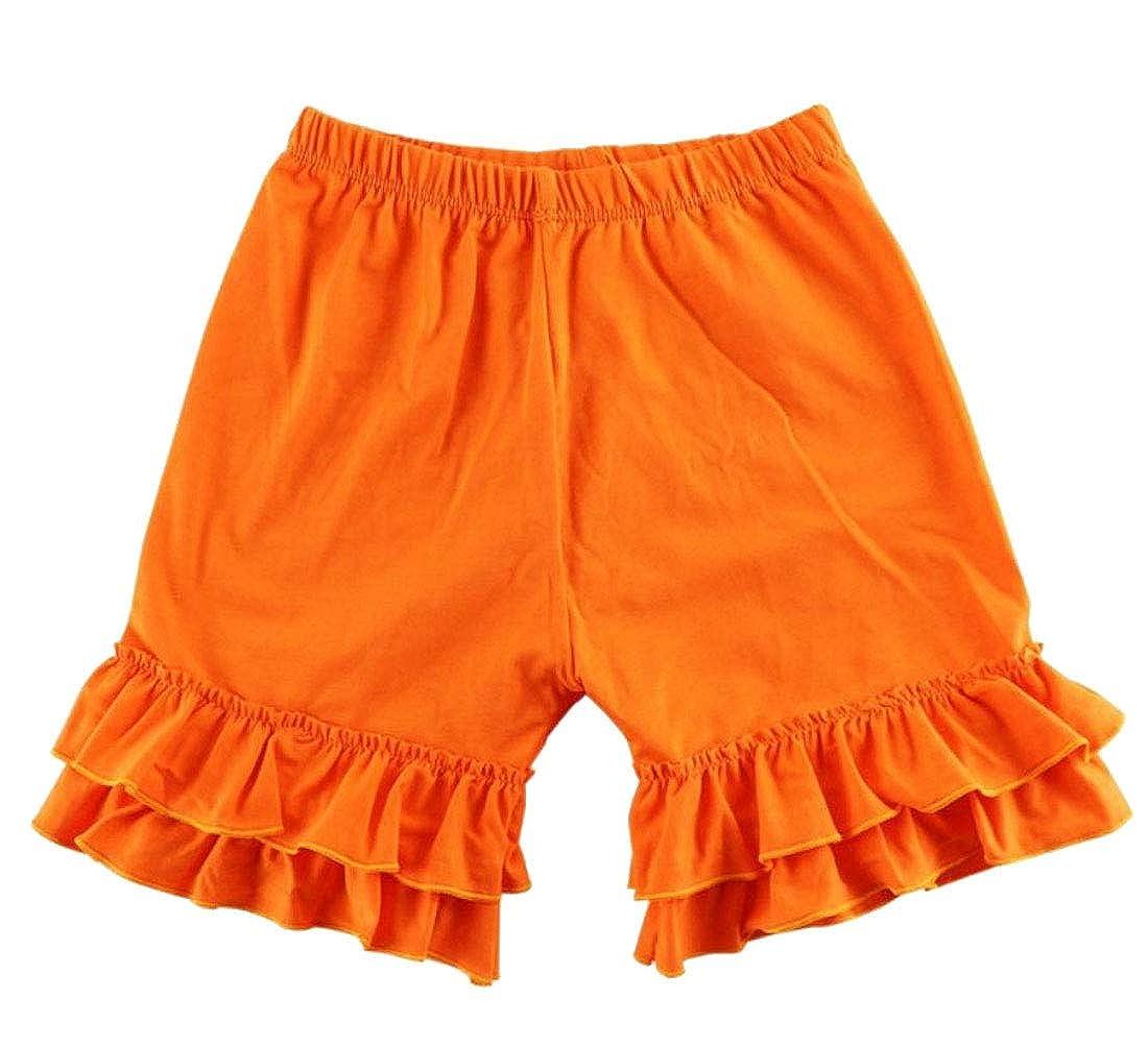 Wofupowga Girls Falbala Elastic Waist Pure Color Layered Shorts
