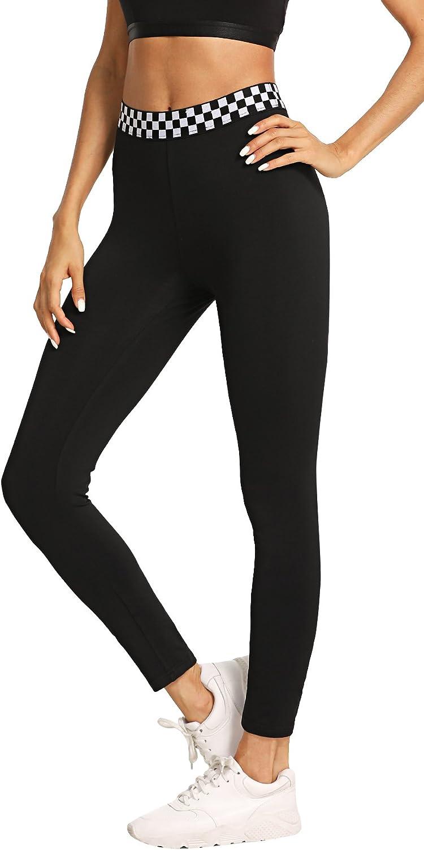SweatyRocks Womens Workout Yoga Leggings Stretch High Waist Fitness Jogger Pants Black S