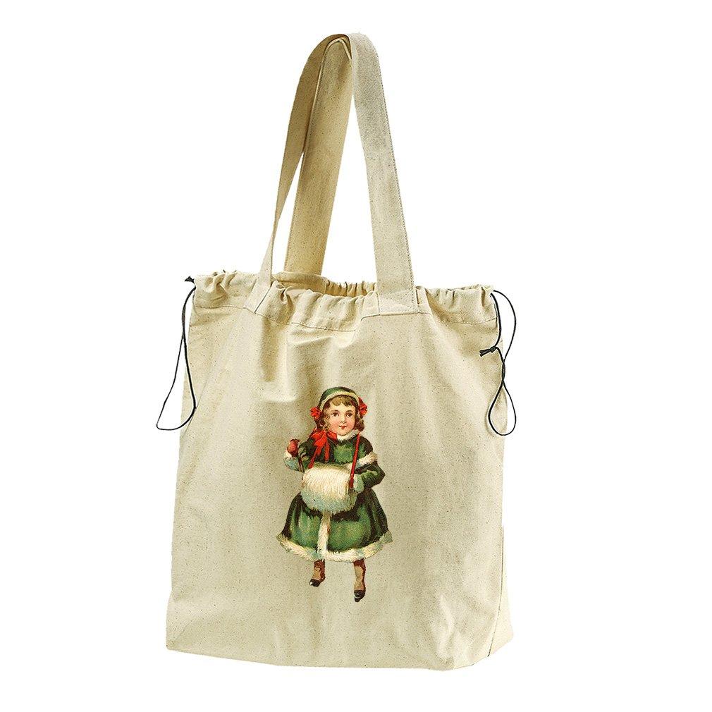 Girl In Green Coat Vintage Look #1 Canvas Drawstring Beach Tote Bag