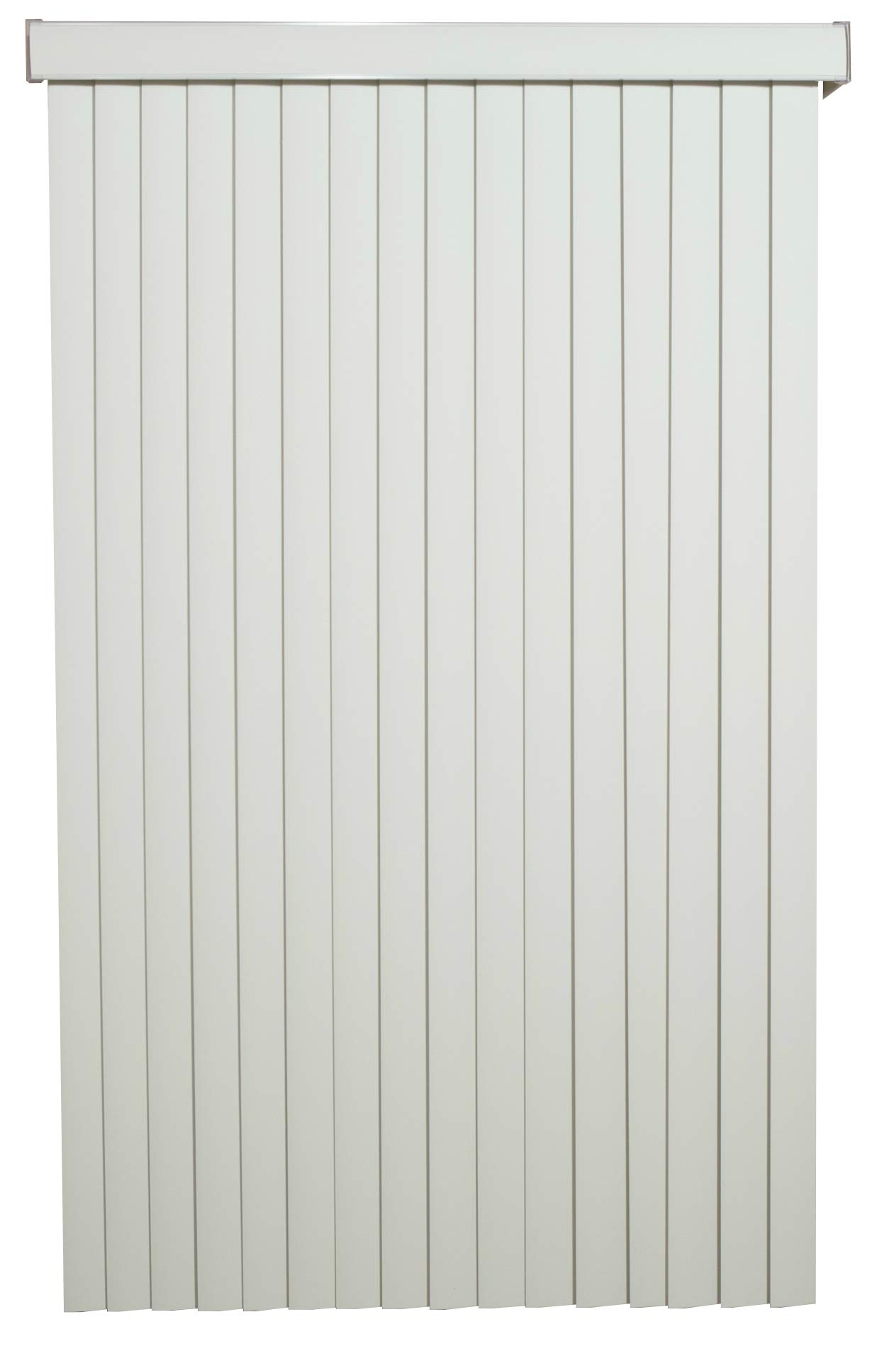 Off White Solid Vinyl Cordless Vertical Blinds with 3-1/2'' Smooth Vanes 70'' Wide x 60'' Long, USA by BlindDen