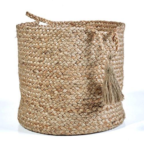 LR Home Montego - Cesta decorativa de almacenamiento, 43 cm de alto, yute natural