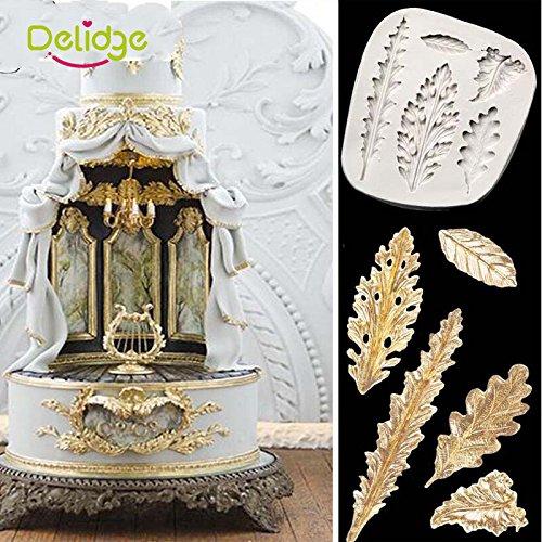 Anqeeso Fondant Moule 3d Diff/érentes formes de feuilles Fondant Moule /à Cake Chocolat f/ête Moule en silicone DIY Moule pour d/écoration de g/âteaux outils