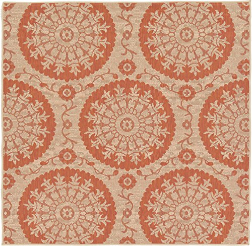 Unique Loom Outdoor Botanical Collection Floral Abstract Transitional Indoor and Outdoor Flatweave Beige /Terracotta  Square Rug (6' 0 x 6' - Transitional Terra Cotta