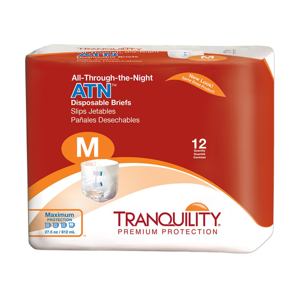 Tranquility ATN Adult Disposable Briefs with All-Through-The-Night Protection, M (32''-44'') - 96 ct (Pack of 8) by Tranquility
