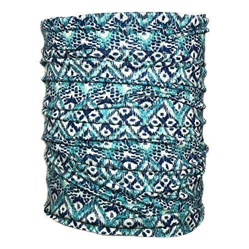 - Blue Green Head Hugger Hippie Headband Tube Bandana