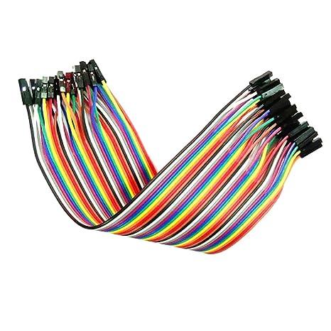 FLAMEER 40 Macho A Hembra Jumper Wires Sin Soldadura 20cm Cinta Dupont para Arduino