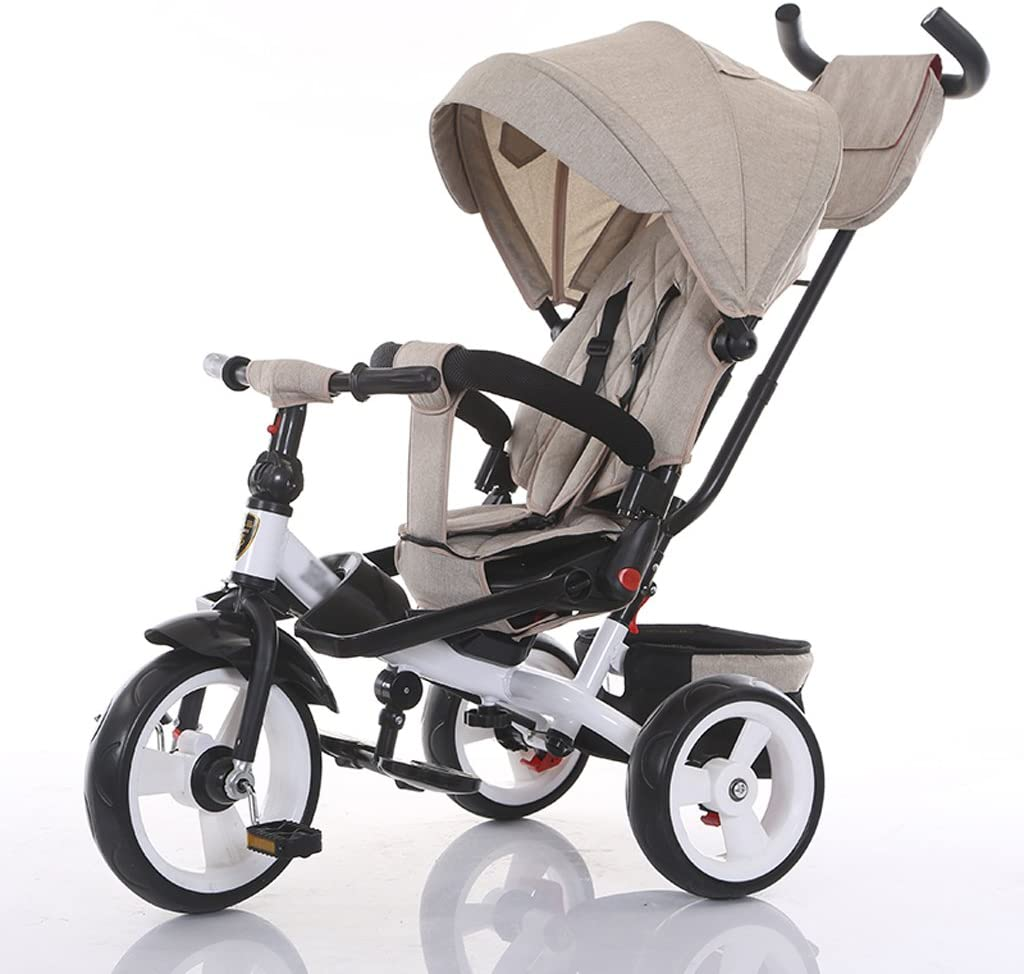 XXW Cochecito De Bebé Desmontable Altura Ajustable Mango para niños Pedal Trike Bike Asiento Giratorio Creativo para niños Triciclo Carro (Color : Khaki)