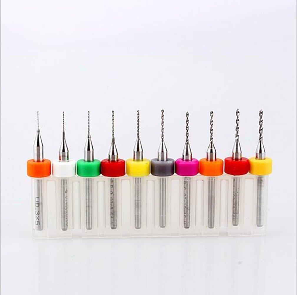 Yosoo 10 piezas con taladro circuito impreso PCB con punta de carburo de brocas Micro Mini Micro brocas 0,3 A 1,2 mm para CNC PCB