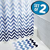 mDesign Chevron Fabric Shower Curtain, Microfiber Bathroom Accent Rug - Set of 2, Blue Multi Color