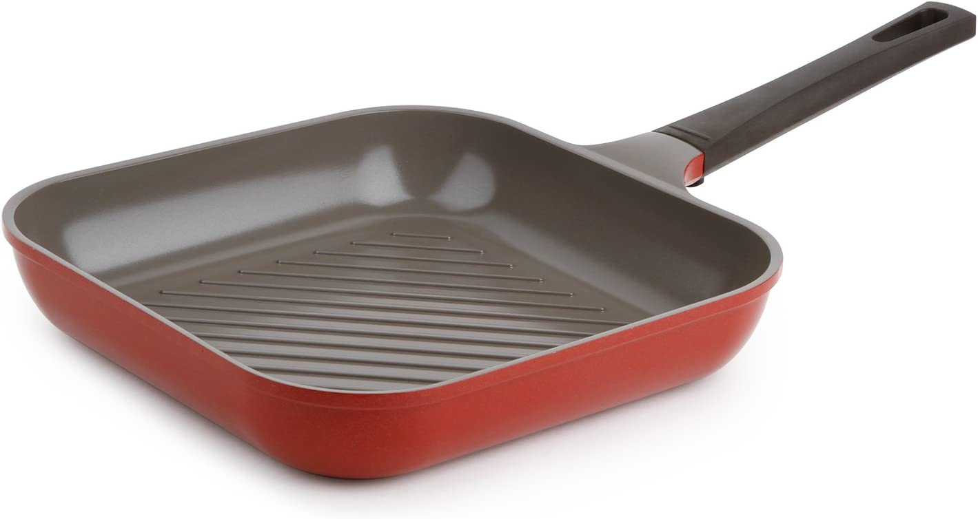 "Neoflam 11"" Ceramic Nonstick Square Grill Pan, Chili Pepper Red"
