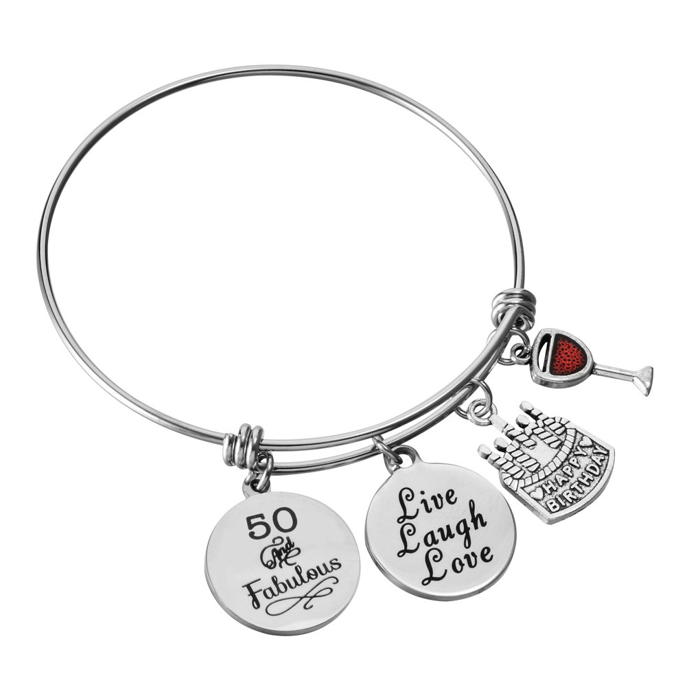 Stainless Steel Expandable Wire Charm Bangle 50th Happy Birthday Bracelets Jewelry Gifts for 50 Year Old Women