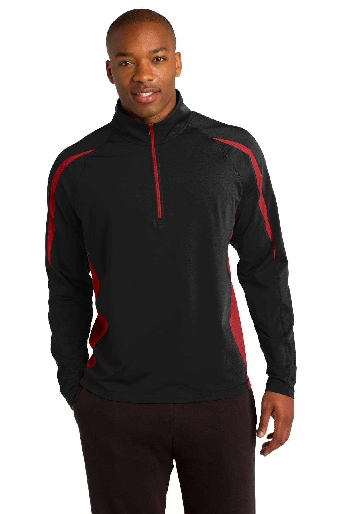 Sport-Tek Men's Sport Wick Stretch 1/2 Zip Colorblock M Black/True Red by Sport-Tek