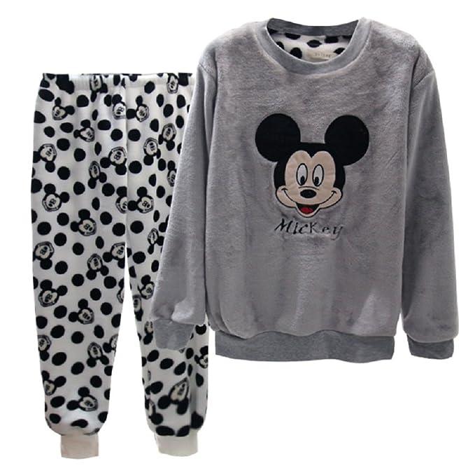 BOMOVO Conjunto de pijama - Cachemira de coral Mickey Mouse - gris