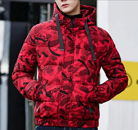 Hokny TD Mens Relaxed Fit Big-Tall with Hood Quilted Camo Stylish Down Jacket Coat