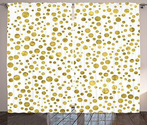Ambesonne Polka Dots Home Decor Collection, Illustration of Golden Polka Dots Vintage Style Art Deco Pattern Bridal Decor, Living Room Bedroom Curtain 2 Panels Set, 108 X 84 Inches, Gold - Polka Dots Teen Bedroom
