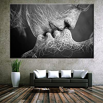Canvas Wall Art Prints Sweet Men and Women Kissing Abstractism Love Modern  Arts Posters Spray Pints Painting Art Deco for Home Living Room Bedroom ...