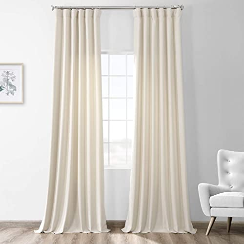 HPD Half Price Drapes FHWL-190701-108 Thermal Room Darkening Heathered Italian Woolen Weave Curtain 1 Panel