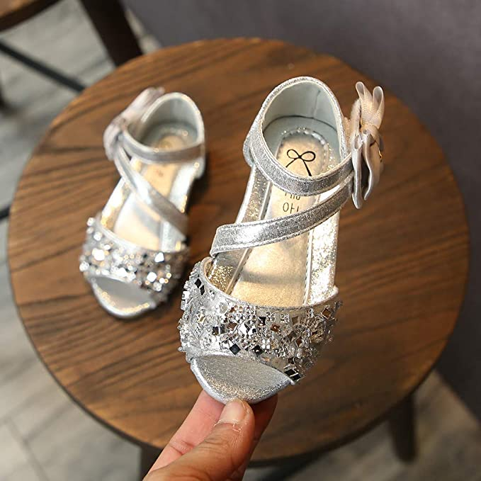 THEE BRON Glitter Shinny Ballet Shoes Flouncing Flats for Baby Girls//Toddlers//Kids