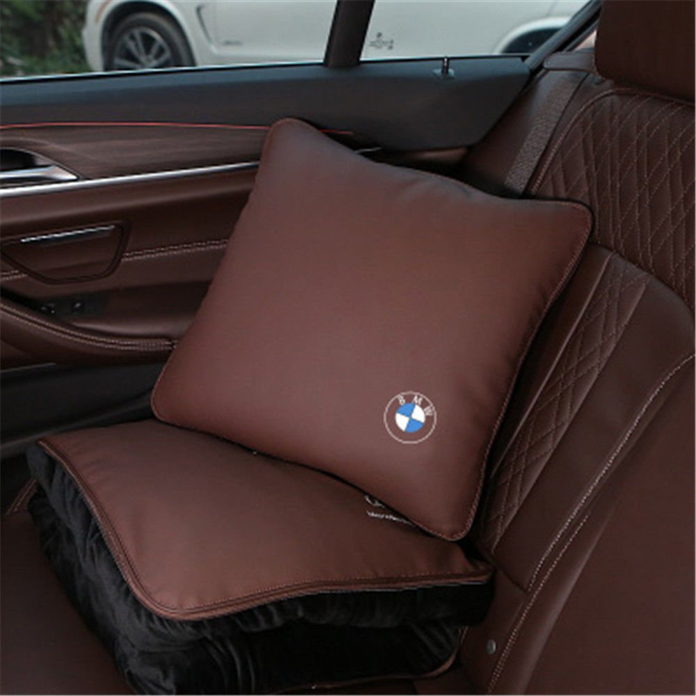 Bestmay Car Leather Waist Pillow Bolster Quilt Dual Use Cushion Blankets For B MW Brown