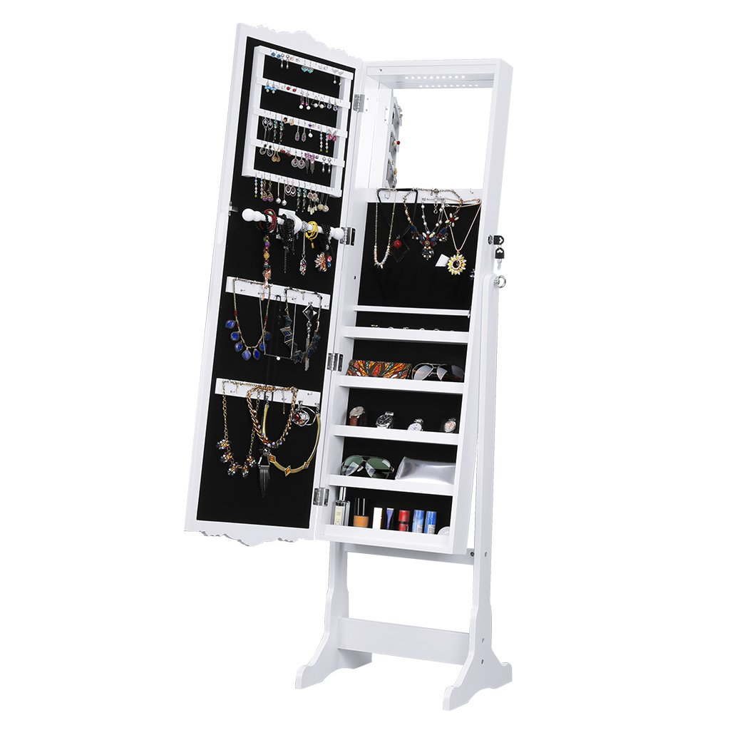 LANGRIA 10 LEDs Jewelry Cabinet Standing Large Mirrored Jewelry Armoire Lockable Holder Organizer with Additional Mirror Inside, White