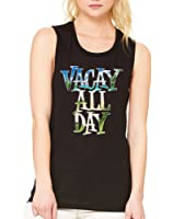 Allntrends Women's Flowy Muscle Top Vacay All Day Vacation Beach Top