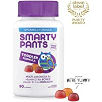 SmartyPants Toddler Formula Daily Gummy Vitamins: Gluten Free, Multivitamin & Omega 3 Fish Oil (DHA/EPA), Methyl B12, Vitamin D3, Vitamin B6, 90 Count (30 Day Supply) - Packaging May Vary