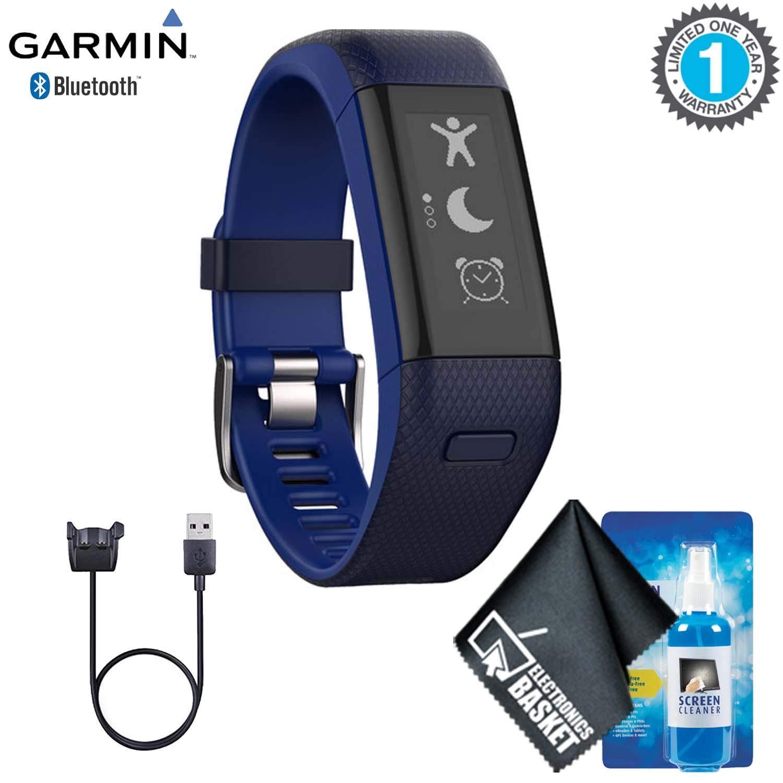 Garmin vivosmart HR+ Activity Tracker (Regular, Midnight Blue/Bolt Blue) Base Accessory Kit by Garmin