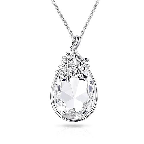 353c8c8f1d6e Alantyer April Birthstone JewelryTeardrop Diamond Pendant Necklace Made  with Swarovski Crystal for Women