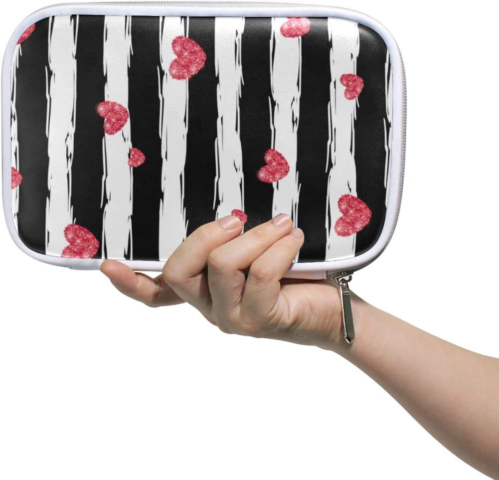 My Little Nest Big Capacity Pen Case Pink Hearts Black White Stripe Multifunction Pen Pencil Pouch Stationery Organizer for Student Office College School Office Supplies