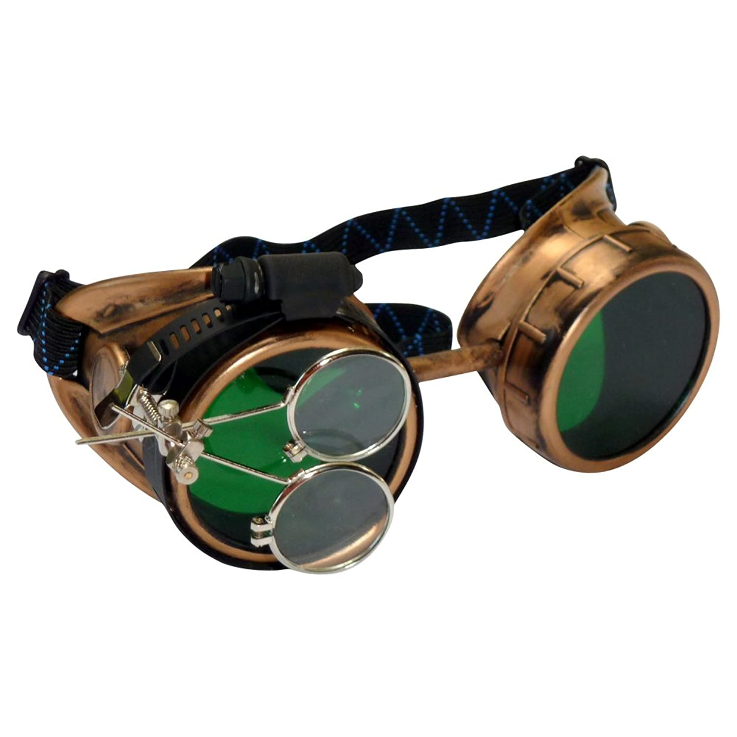 Steampunk Accessories | Goggles, Gears, Glasses, Guns, Mask Steampunk Victorian Goggles Glasses gold green magnifying lens $24.99 AT vintagedancer.com
