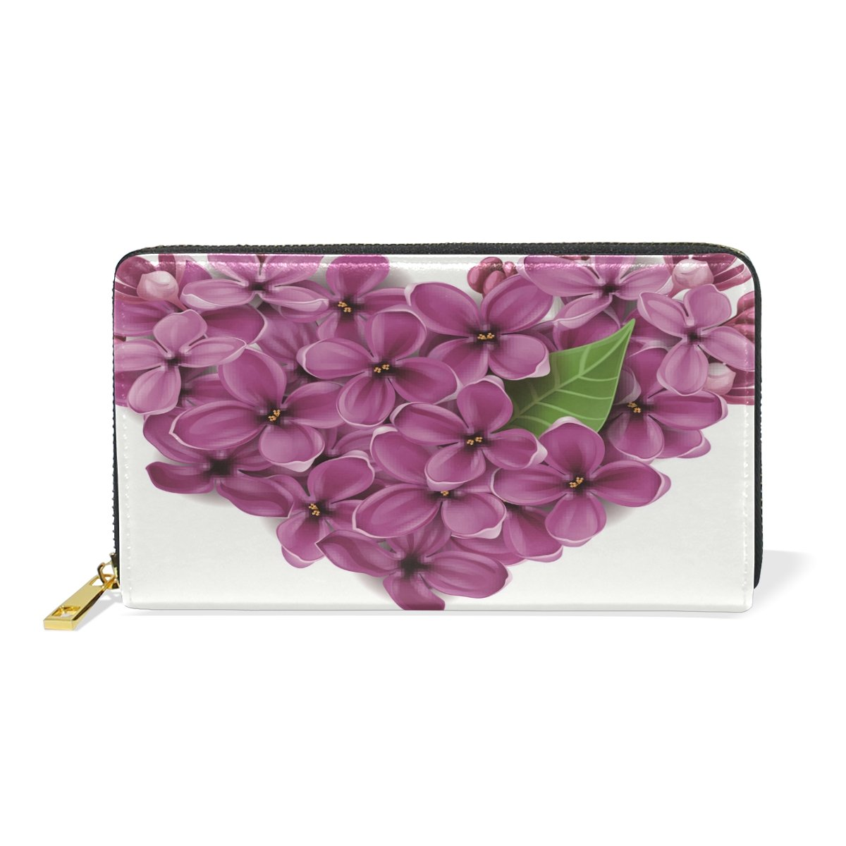 Women Genuine Leather Wallet Purple Flowers Zipper Purse Girl Phone Clutch