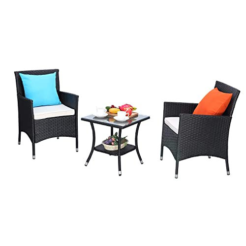 HTTH 3 Pieces Patio Porch Furniture Sets PE Rattan Wicker Chairs Thick Cushion with Tempered Glass Tabletop Outdoor Conversation Garden Backyard Furniture Sets 4 line Wicker-Beige Cushion