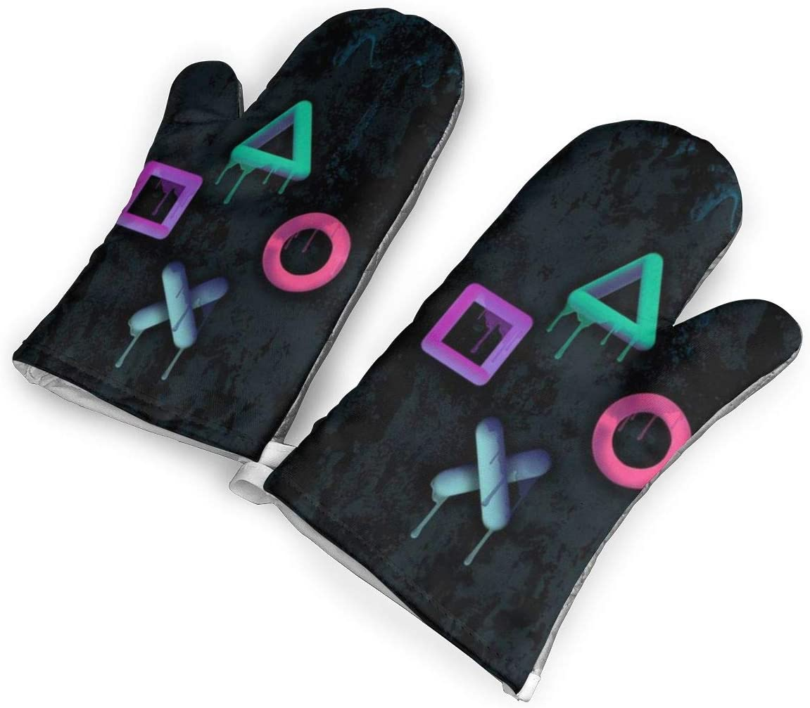 QKJASL-YU Gamer Paint Oven Baking Mitts Kitchen Glove Heat Resistant Cook Gloves Mitts for Women