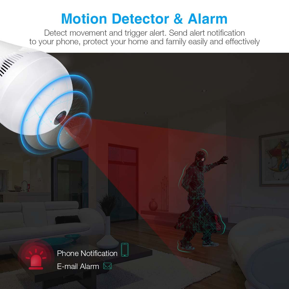 Wireless Security Bulb Camera, FirstPower 960P Home Security Surveillance Camera 360 Panoramic IP Camera with Night Vision Two Way Talking Motion Detection for Android IOS Phone by FirstPower (Image #8)