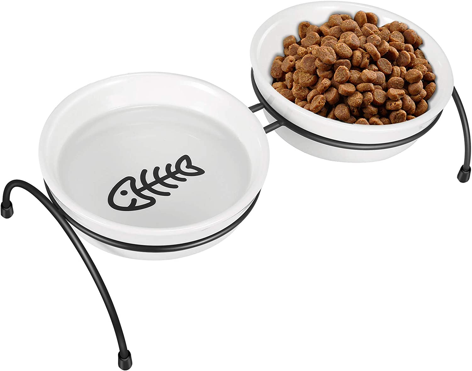 COMESOON Cat Bowls - Raised Cat Bowls for Food and Water, Elevated Cat Food Bowls with Stand, Ceramic Cat Food Bowls for Indoor Cats or Dogs, Cute Cat Feeding Bowls, Dishwasher Safe, 13 Ounces