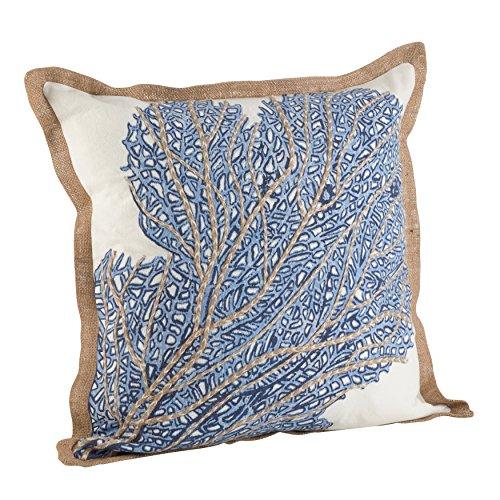 (SARO LIFESTYLE Nautical Sea Fan Coral Print Down Down Filled Throw Pillow (5432.NB20S), 20