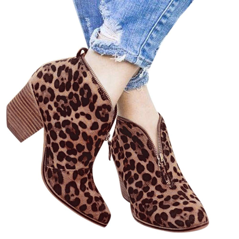 Faionny Womens Shoes Suede Ankle Boots Solid Leopard Zipper Boots Short Shoe for Women Sneakers Brown by Faionny