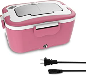 Electric Lunch Box,110V&60W 2 in 1 Portable Electric Food Warmer Lunch Heater for School, Home, Office with Removable Stainless Steel Food Container,Spoon and 2 Compartments Included (Pink)