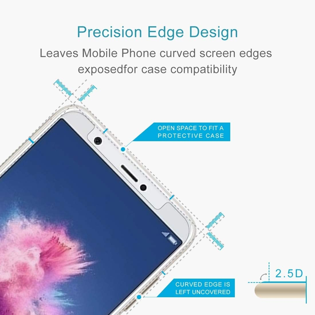 ZHANGYUNSHENG 100 PCS for Huawei P Smart//Enjoy 7S 0.26mm 9H Surface Hardness 2.5D Curved Tempered Glass Screen Protector Film zys